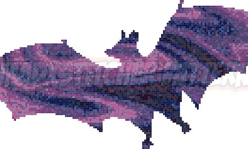 Painted Bat Cross Stitch Pattern