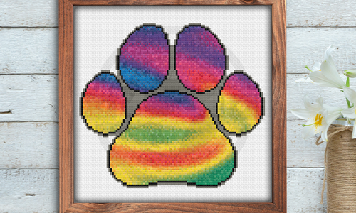 [CROSS STITCH PATTERN] Rainbow Paw Print